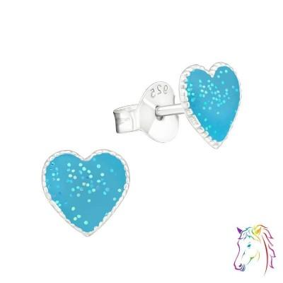 Csillámos glitteres szíves színes fülbevaló - A4S30255