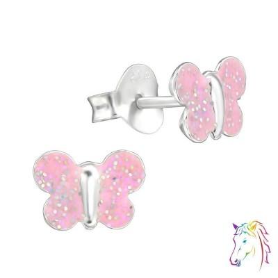 Pink, glitteres pillangó színes fülbevaló - A4S30266