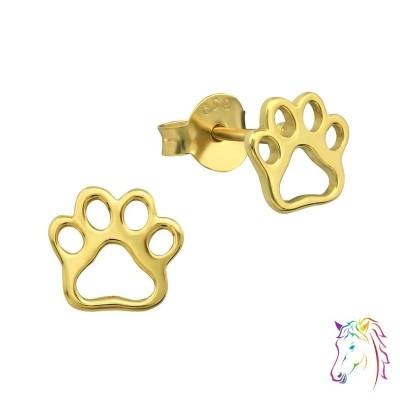 18k aranyozott kutya mancs stift ezüst gyermek fülbevaló - A4S31748