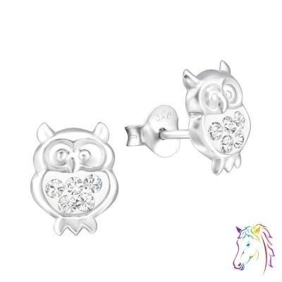 La Crystale fehér kristályos stift bagoly fülbevaló - A4S32785