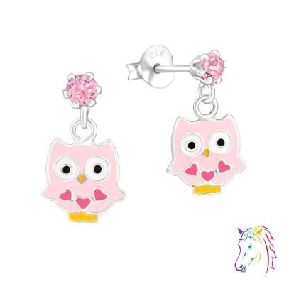 La Crystale rózsaszín kristályos stift bagoly fülbevaló - A4S32847
