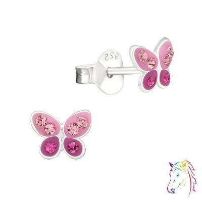 Szép rózsaszín, pink pillangós kristály ezüst fülbevaló - A4S33021
