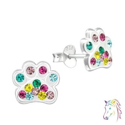 Színes kristály köves kutya tappancs ezüst fülbevaló - A4S34782