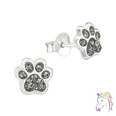 Kutya mancs kristály ezüst fülbevaló - A4S37017