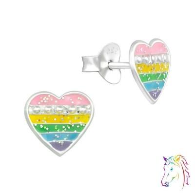 Hullámos pasztell szivárvány szív színes fülbevaló - A4S39457