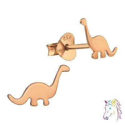 14k rose gold aranyozott Brontoszaurusz dinoszaurusz stift ezüst gyermek fülbevaló - A4S39834