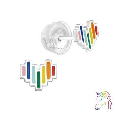 Szivárvány szív prémium fülbevaló, szilikon záróvéggel - A4S39964