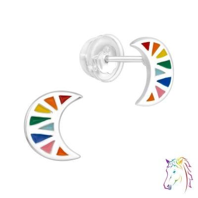 Szovárvány Hold prémium fülbevaló, szilikon záróvéggel - A4S40002