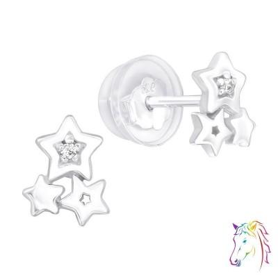 Csillagok prémium fülbevaló, szilikon záróvéggel - A4S40079