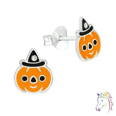 Halloweeni tök kristály ezüst fülbevaló - A4S40359