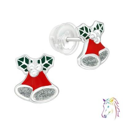 Karácsonyi csengő, harang prémium fülbevaló, szilikon záróvéggel - A4S40381