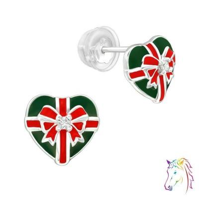 Karácsonyi masnis ajándék szív prémium fülbevaló, szilikon záróvéggel - A4S40382