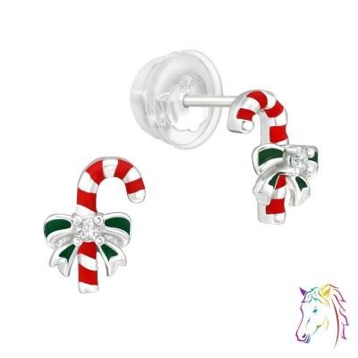 Karácsonyi cukor nyalóka prémium fülbevaló, szilikon záróvéggel - A4S40384