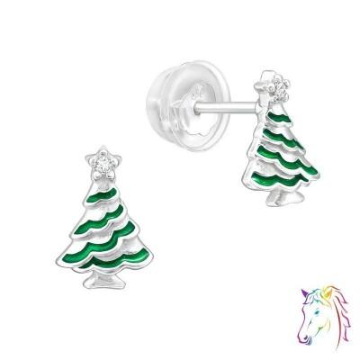 Karácsonyfa prémium fülbevaló, szilikon záróvéggel - A4S40388