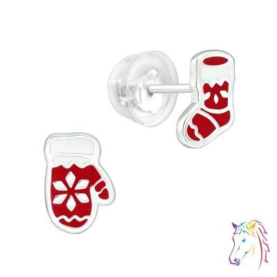 Mikulás kesztyű és csizma prémium fülbevaló, szilikon záróvéggel - A4S40392