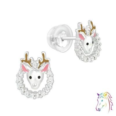 Karácsonyi rénszarvas koszorú prémium fülbevaló, szilikon záróvéggel - A4S40393