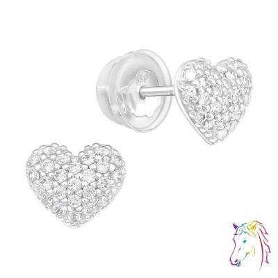 Szív formájú sok köves prémium fülbevaló, szilikon záróvéggel - A4S40913