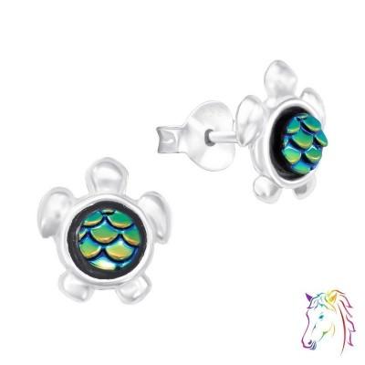 Teknős zöld páncélos stift ezüst gyermek fülbevaló - A4S41089