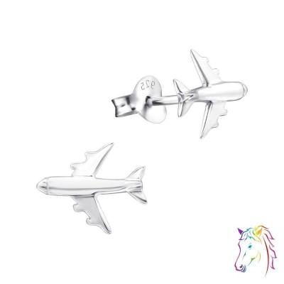 Repülőgép stift ezüst gyermek fülbevaló - A4S5657