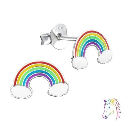 Szivárvány színes fülbevaló - A4S960 színes ezüst stift fülbevaló - A4S